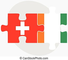 Switzerland and Cote Divoire Flags in puzzle isolated on...