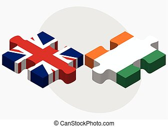 United Kingdom and Cote Divoire Flags in puzzle isolated on...
