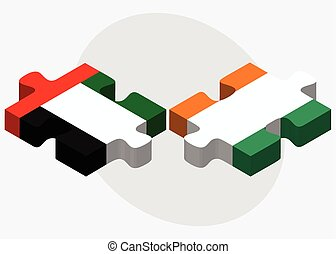 United Arab Emirates and Cote Divoire Flags in puzzle...