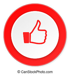 like red circle 3d modern design flat icon on white...