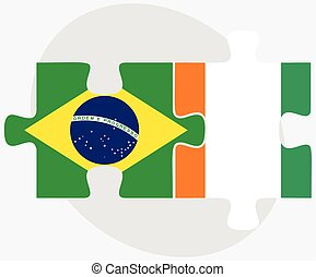 Brazil and Cote Divoire Flags in puzzle isolated on white...