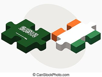 Saudi Arabia and Cote Divoire Flags in puzzle isolated on...