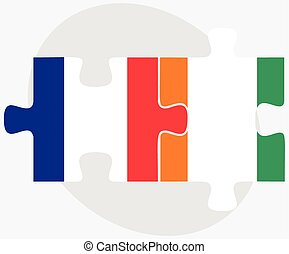 France and Cote Divoire Flags in puzzle isolated on white...