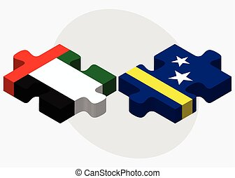 United Arab Emirates and Curacao Flags in puzzle isolated on...