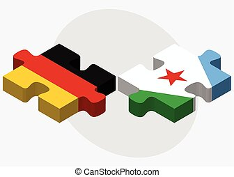 Germany and Djibouti Flags in puzzle isolated on white...