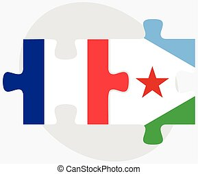 France and Djibouti Flags in puzzle isolated on white...