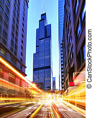 Willis Tower at night time - Willis Tower and modern city at...