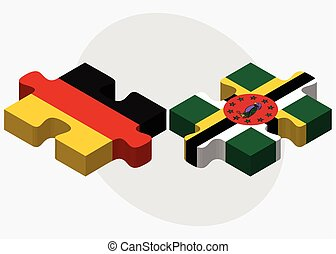 Germany and Dominica Flags in puzzle isolated on white...
