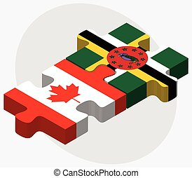 Canada and Dominica Flags in puzzle isolated on white...