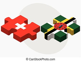 Switzerland and Dominica Flags in puzzle isolated on white...