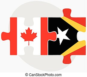 Canada and East Timor Flags in puzzle isolated on white...