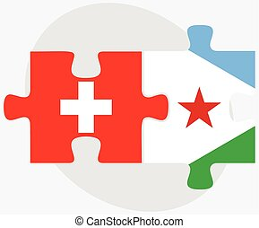 Switzerland and Djibouti Flags in puzzle isolated on white...