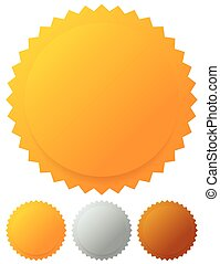 Gold silver bronze medals, badges Vector graphics