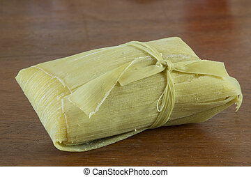Brazilian pomonha wrapped in corn husk - Closeup Brazilian...