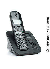 Modern black digital cordless phone with answering machine...