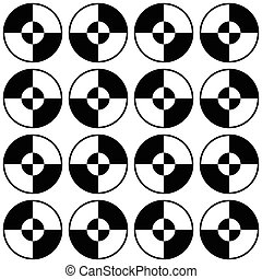 Repeatable minimal pattern with segmented, divided circles