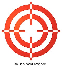 Colored crosshair, reticle, target mark shape on white