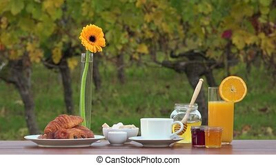 French breakfast and vineyards - focus changing during scene