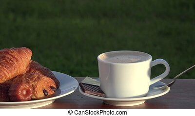 cappuccino, croissants and pastries