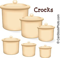 Crocks with lids - Collection of earthenware storage jar...
