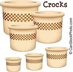 Crocks Garden Planters - Collection of earthenware garden...