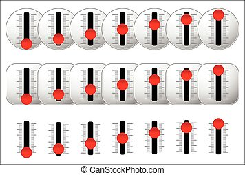 Vertical sliders with red knobs vector