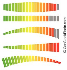 Colored progress bars, progress, strength indicators vector
