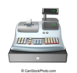 Cash register isolated on white