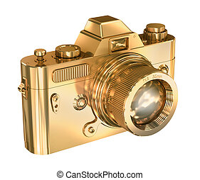 Gold photo camera on a white background
