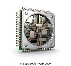 Modern central computer processors CPU isolated on white...