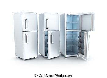 Refrigerator on white background. 3D render