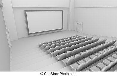 Empty Movie Theater interior with blank screen