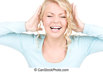 happy screaming woman - picture of happy screaming woman...