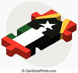 United Arab Emirates and East Timor Flags in puzzle isolated...
