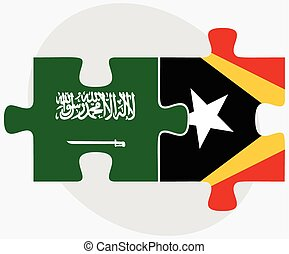Saudi Arabia and East Timor Flags in puzzle isolated on...