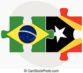 Brazil and East Timor Flags in puzzle isolated on white...