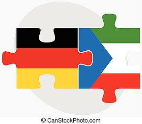 Germany and Equatorial Guinea Flags in puzzle isolated on...