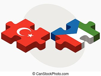 Turkey and Equatorial Guinea Flags in puzzle isolated on...