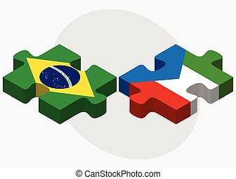 Brazil and Equatorial Guinea Flags in puzzle isolated on...