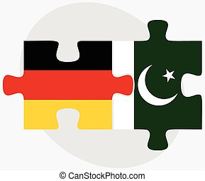 Germany and Pakistan Flags in puzzle isolated on white...