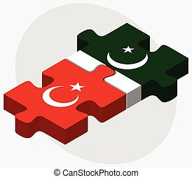 Turkey and Pakistan Flags in puzzle isolated on white...