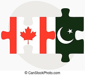 Canada and Pakistan Flags in puzzle isolated on white...