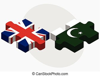 United Kingdom and Pakistan Flags in puzzle isolated on...