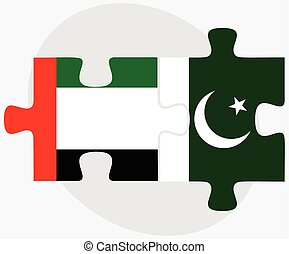 United Arab Emirates and Pakistan Flags in puzzle isolated...