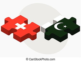 Switzerland and Pakistan Flags in puzzle isolated on white...