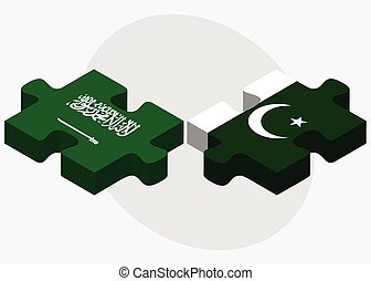 Saudi Arabia and Pakistan Flags in puzzle isolated on white...