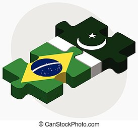 Brazil and Pakistan Flags in puzzle isolated on white...