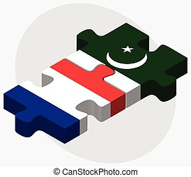 France and Pakistan Flags in puzzle isolated on white...