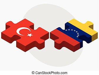 Turkey and Venezuela Flags in puzzle isolated on white...