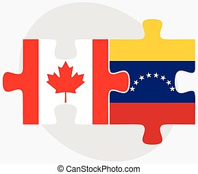Canada and Venezuela Flags in puzzle isolated on white...